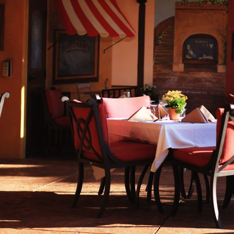 Restaurant morning outdoor patio tables