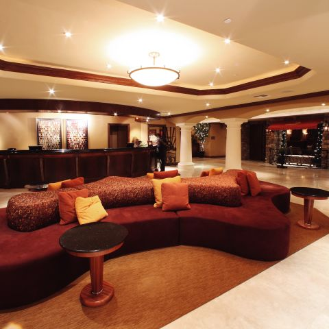 Interior of hotel lobby with seating area