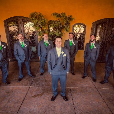 Groom and groomsmen outside of hotel