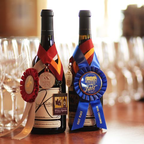 Wine bottles with ribbons