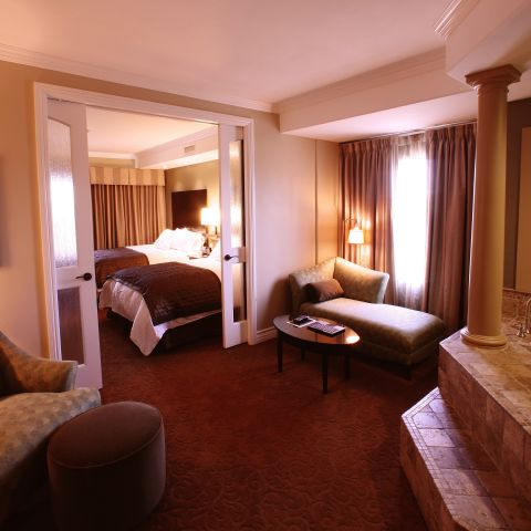 Private whirlpool area in suite with seating